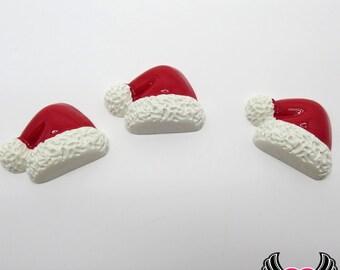 Santa Hat Christmas Decoden Cabochons 5 pieces, Santa kawaii cabochons, Santa suit cabochon embellishment