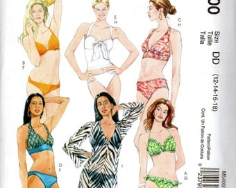 "Women's Two-Piece, Halter-Top, Bikini Swim Suit & Cover-Up Pattern- Size 12, 14, 16, 18; Bust 34"", 36"", 38"", 40"" - McCall's M5400 uncut"
