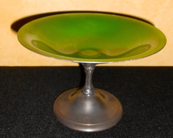 Gorgeous emerald green enamel and silver bowl by Reed and Barton - model 141 - gorgeous holiday display piece - vibrant green color