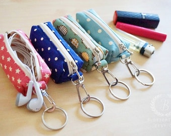 iphone 5 earphones case, iphone 5s accessories, iphone 5s earbud key chain, small purse, tiny purse, coin purse keychain