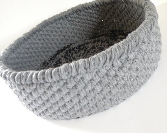 Handmade Crochet Cat Beds,  Grey Thick n Chunky Storage Basket for Magazines, Soft yet Durable Travel Pet Bed in Charcoal Gray w/ Mat Option