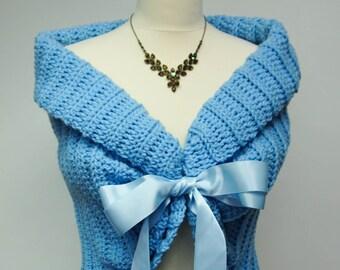 Something Blue, Wedding Shawl, Bridal Cape, Spring Wedding Cover Up, Crochet Shawl, Bridal Capelet, Blue Bolero, Bridesmaids Shawls
