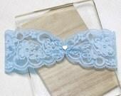 Blue lace garter, gold tiny heart charm garter, wedding garter, lace garter, bridal garter, lace keepsake garter, toss garter