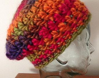 Crochet Slouchy Hat, Multicolor Hat, Crochet Winter Hat, Winter Accessories, Bulky Crochet Hat, Crochet Beret, Ready to Ship