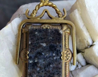 Victorian Gilt Finish Spinner Fob or Pendant, Faux Sardonyx Cameo on One Side, Polished Black Granite on Reverse, Unusual, Pretty, Unsigned