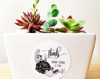 Succulent wedding favor stickers 20 - thank you stickers engagement favor stickers