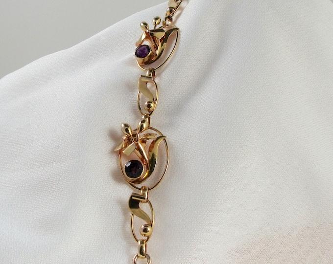 Yellow and Rose Gold Amethyst Link Bracelet with Floral Design; Amethyst Bracelet; Vintage Bracelet; Antique Bracelet; Retro Bracelet