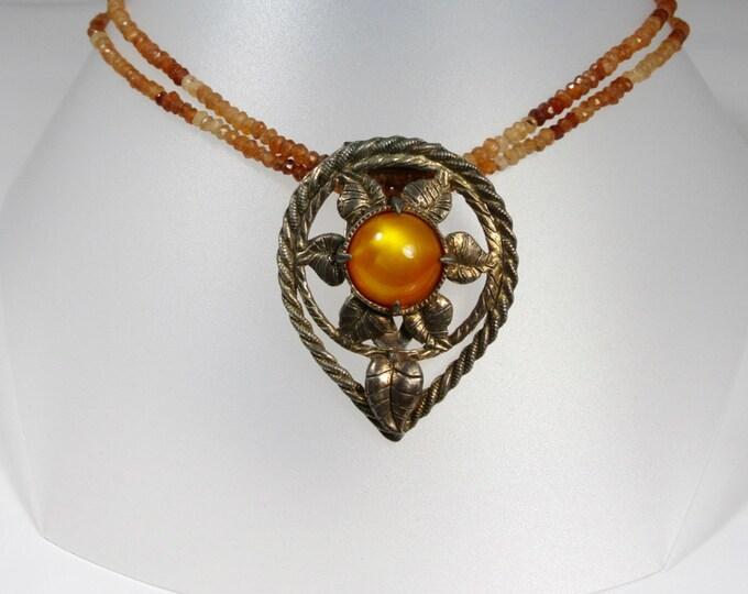 Re-purosed Vintage Dress Clip Necklace; Re-cycled Vintage Dress Clip Necklace; Citrine Necklace; Citrine Dress Clip Necklace