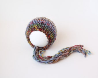 Multi-Colored Hand Knit Thick Wool Alpaca Baby Bonnet - Vintage Inspired - Newborn - Ready to Ship