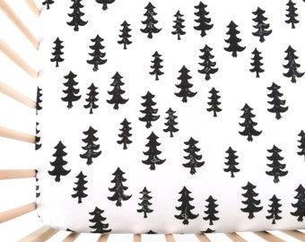 Crib Sheet Black Forest. Fitted Crib Sheet. Baby Bedding. Crib Bedding. Crib Sheets. Woodland Crib Sheet.