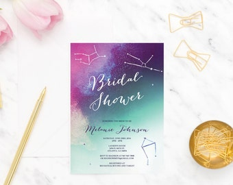 Starry Bridal Shower Invitation constellations BV01 Digital or Printed
