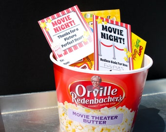 Movie Night Teacher Gift Tags Instant Download pdf