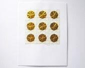 Modern Op Art - Gold Paper Collage - Origami Sketch No1 - Geometric Circles - Minimalist Art - Gold Home Decor - Original Art - Origami Art
