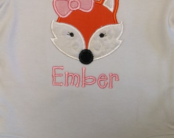 Girly Fox Embroidered Appliqued Shirt, Bodysuit, Gown, Burp Cloth or Bib ~ Personalized For You - Girl Fox Shirt