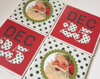 Set of 4 // Holiday Coasters // Christmas Coasters // Tile Coasters // Ceramic Coasters // Ceramic Tile Coasters // Decorative Coasters