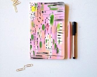 MEDIUM Journal Blank Notebook Hand Painted 5 x 8.25 Moleskine Prayer Journal Travel notebook diary modern art sketchbook  bible journaling
