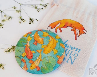 Fabric Koi Carp Pocket Mirror, Cosmetic Mirror, Makeup Mirror, Gifts for Women, Fabric Covered Mirror