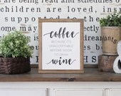 Wood Sign, Drink Coffee Sign, Framed Wall Art, Kitchen Wall Art, Rustic Wood Signs, Hand Painted Wood Sign