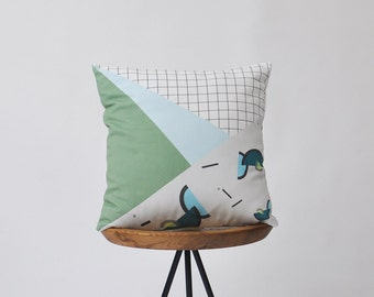 "Memphis Decorative Pillow, Geometric Pillow, Throw Pillow, Cushion Cover, Kids Pillow, Green Blue Cushion, 16"""