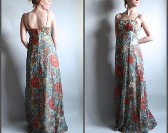 1960s Floral Print Maxi Gown Gauzy A Line Empire Waist S XS