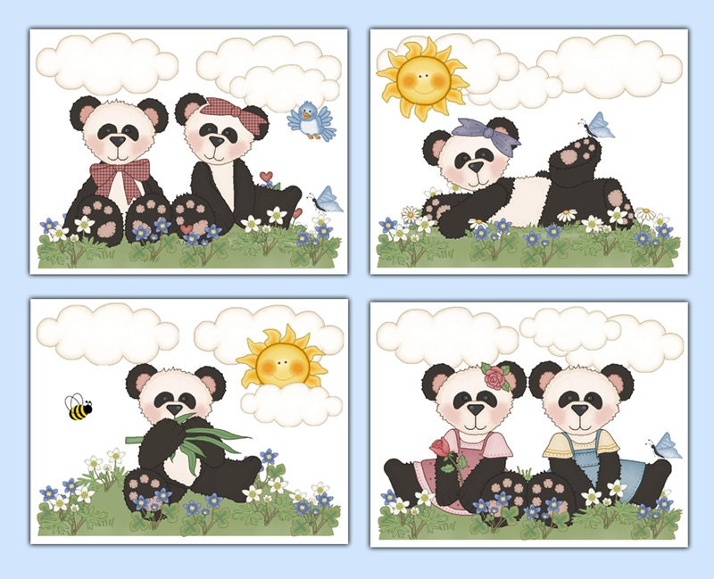Panda Bear Prints Nursery Wall Art Girl Woodland Creatures