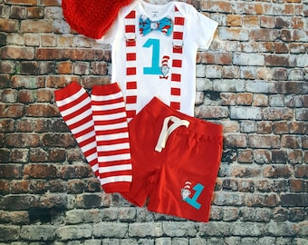 Dr Seuss First Birthday Bow Tie and Suspender Bodysuit, Leg Warmers, Shorts, Button Hat, Boy 1st Birthday Party Little Man Tie, Cake Smash