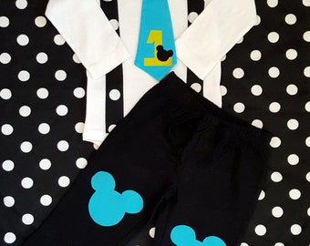 Baby Mickey Mouse Inspired 1st Birthday Tie, Suspender Bodysuit and Pants for Baby Boy - GET THE SET - First Birthday, Cake Smash