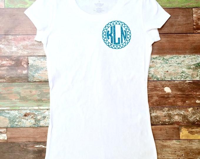 Monogram T shirt, Monogrammed Shirts, Fitted Tee Shirt, Glitter Monogrammed Tee Shirt, Gifts Women's, Teens, Girls Sizes