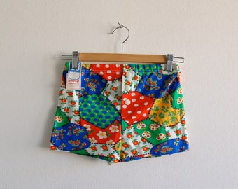 60s/70S Mini shorts - Hot pants with crazy colorful print - Mod / Raver / Clubkid /Cyber /