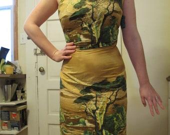 1950s Lone Cypress Millworth Scenic Novelty Print Wiggle Dress 26.5W
