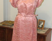 Vintage 1950s Cocktail Dress | Dusty Pink Lace Cocktail Dress over satin lining | Wiggle Dress | Plus Size | Size XXL | by Gloria Swanson