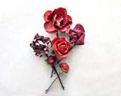 Red Flower Hair Pins for Rustic Weddings. Handmade Paper Hair Accessories. Woodland Garden Gifts. Cranberry Red Bridal Party Presents.