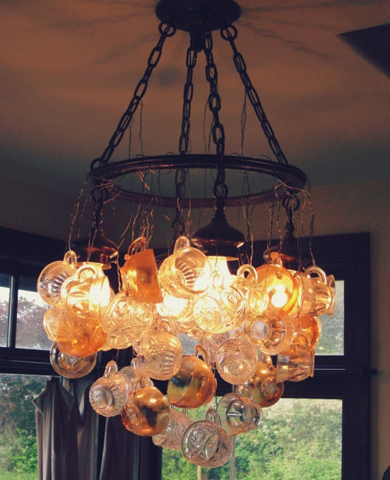 New Price! Vintage sophistication in an upcycled way~ Timeless Punch Cup Chandelier