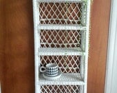 White Wicker Wall Hanging Shelf
