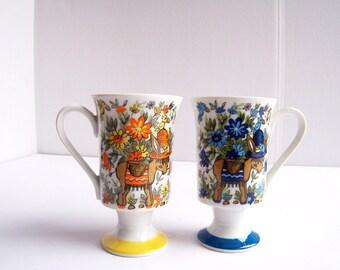 Vintage Arn Art Smug Mug Footed Mugs Blue Yellow