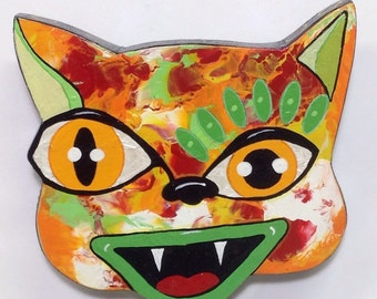 Outsider Folk Art Cat Head, Happy Cat #13, Comical Hand Painted Cat Wall Hanging, Abstract Cat Wood Wall Art, Outsider Cat by Windwalker Art