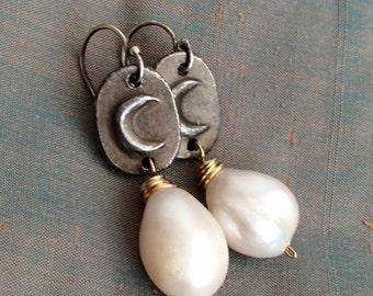 Pearl dangle drop earrings - Moon boho 'Heavenly' asymmetric mixed metal jewelry by mollymoojewels