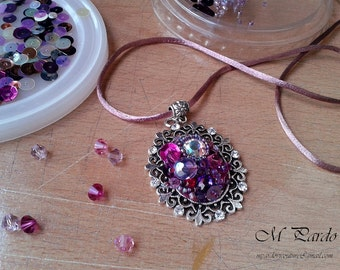 Pendant - purple bead embroidery choker with rhinestones and mixed beads