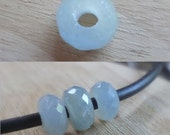 3 Large Hole Pastel Blue Gray Sapphire Faceted Rondelle Beads, 2mm Big Drill Hole Precious Gemstone Beads, Loose Sapphire Beads