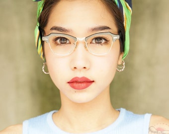 Vintage  Eyeglass Cat eye Frames 1960's By Bausch And Lomb Metallic Blue 12k Gold filled 44-18
