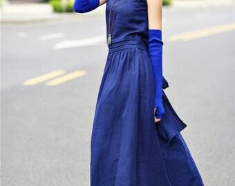 Blue Maxi Dress Gown, Maxi Long Dress, Evening Dress, Prom Dress, Cocktail Dress, Elegant Tunic Dress, Empired Waist Dress, Pintucks Dress