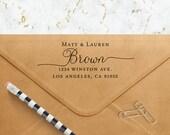 Custom Script Return Address Stamp - Self Inking - Housewarming Gift - Family Holiday Stamp