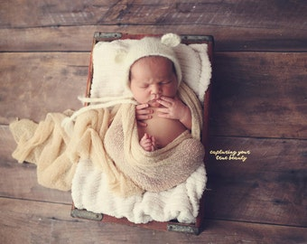 Newborn  bear hat, baby bear, knit bear hat