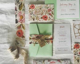 Rustic Botanical Wedding Invitations Suite - Boho Wedding, Botanical Wedding, Mint Wedding, Floral Wedding