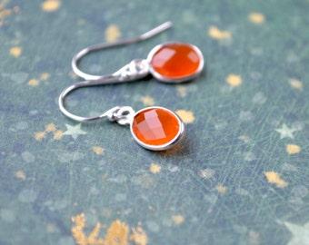 Carnelian Earrings, Gemstone Drop Earrings, Orange Stone Earrings, Dainty Sterling Silver Carnelian Jewelry, Orange Carnelian Earrings, UK