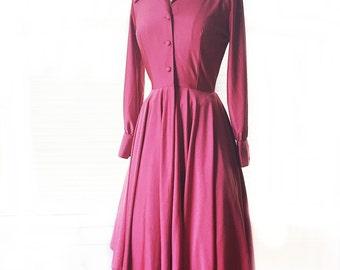 Vintage 60s brick red dress/ rose ash full circle skirt shirt dress/ long sleeve party dress
