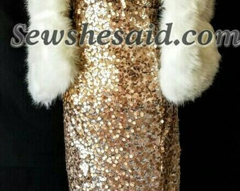 Gold Sequin Gown Monroe Custom Dress Bridesmaid Dress Made to Order
