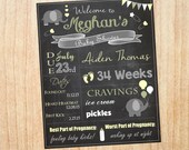 Elephant Baby Shower Welcome Chalkboard Sign printable poster chalk board DIY digital customizable gender neutral green yellow