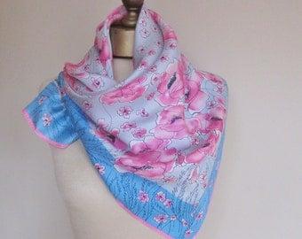 Vintage Vera silk scarf, 1970s silk scarf, Vera Nuemann , square scarves, floral vintage scarf, summer scarf, head scarf