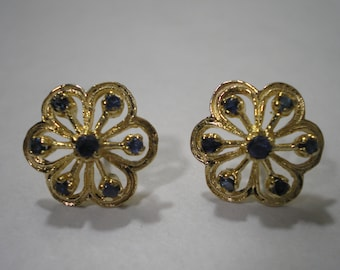 Vintage 14k Gold Blue Sapphire Cluster Flower Post Stud Earrings